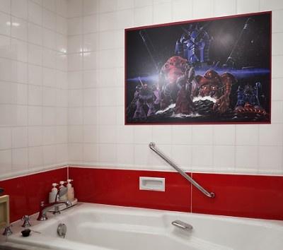 バスルームにもイラストが描かれている