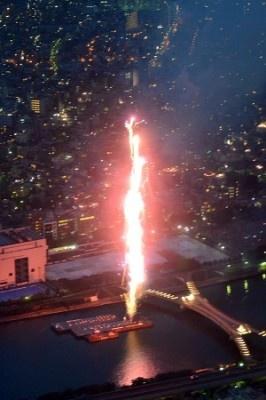 大量の花火が一気に打ち上げられた