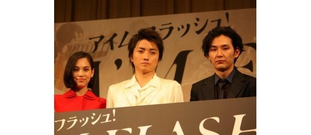 『I'M FLASH!』の完成披露試写会に藤原竜也、松田龍平、水原希子らが登壇