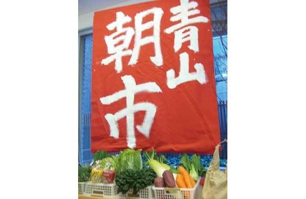 青山朝市は赤いのぼりが目印。日が暮れるとライトアップされ夜市になる。プレゼントもあり