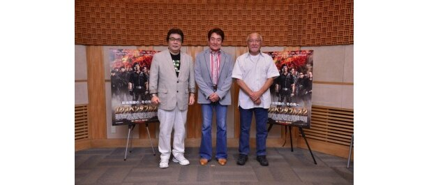 『エクスペンダブルズ2』の日本語吹替を担当する、左から、玄田哲章、ささきいさお、綿引勝彦