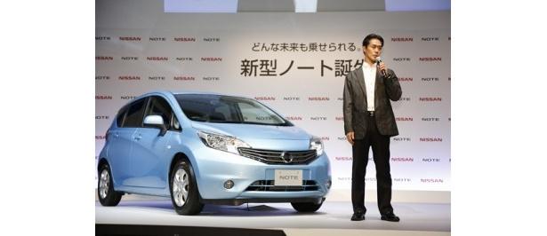 日産自動車マーケティング・ダイレクター・小林恭彦氏が新型ノートの性能をアピール