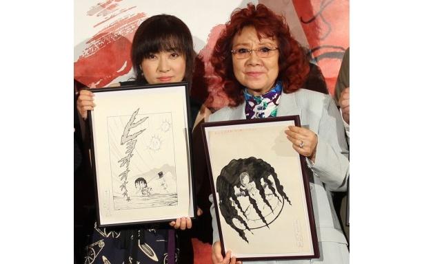 『アシュラ』先行プレミアイベントに登壇した野沢雅子と林原めぐみ