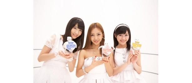 新CMに出演するAKB48・柏木由紀、板野友美、渡辺麻友(写真左から)