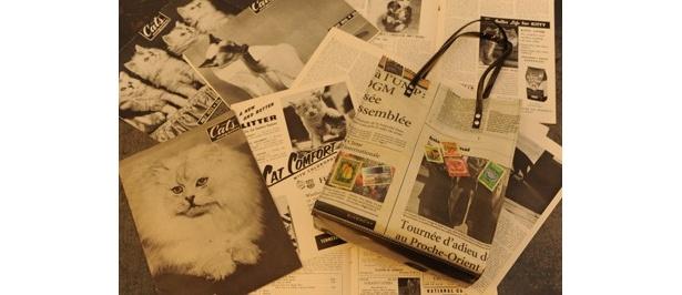 古い雑誌や新聞をそのまま活かし、特殊な製法で仕上げるペーパーバッグが人気