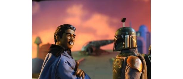 クラウド・シティでのランドとボバ・フェットの一幕。これも有名なシーンだが