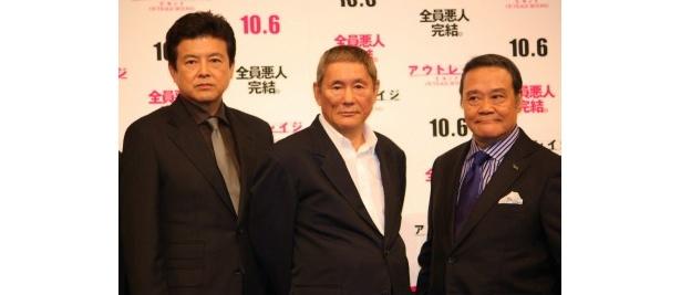 『アウトレイジ ビヨンド』のジャパンプレミアに出席した北野武監督と豪華キャスト陣