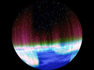 夜空に起こるオーロラなどの様々な現象が見られる