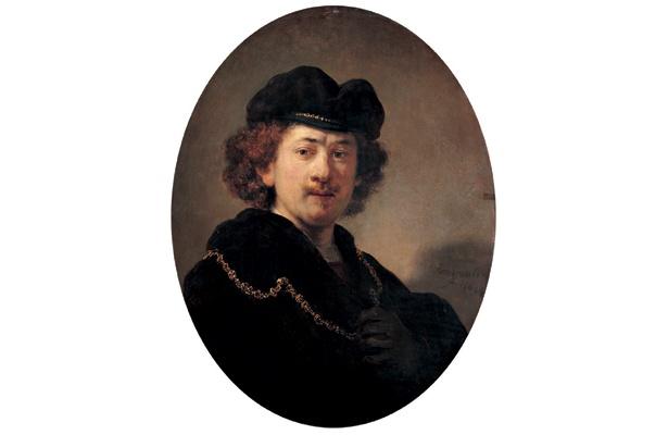 レンブラント・ファン・レイン[縁なし帽をかぶり、金の鎖をつけた自画像」1633年 (C)RMN / (C)Jean Schormans / distributed by DNPartcom