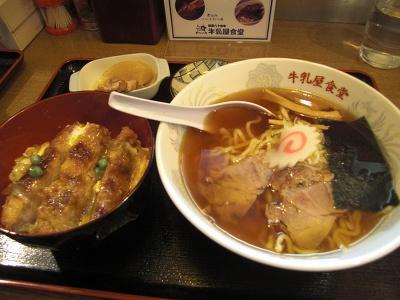 会津の2大名物、会津ラーメンとソースかつ丼が味わえる牛乳屋ミニセット