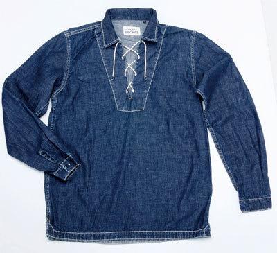 ブルーの色合いがステキなデニムレースアップシャツ