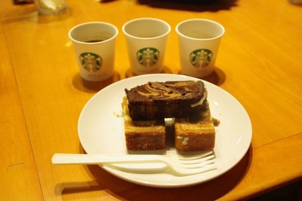 参加者に提供したケーキに合うコーヒー3種とケーキ3種