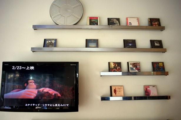 一角には、ユナイテッド・シネマ本社部長の私物のサントラCDをディスプレイしているコーナーも!