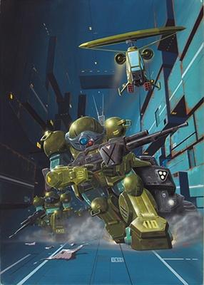 「装甲騎兵ボトムズ」の複製原画もあり