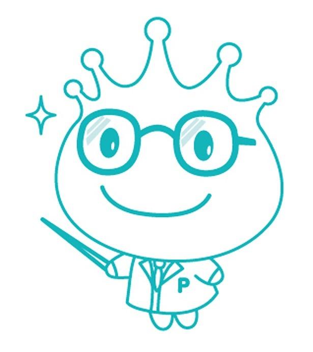 メガネをかけて、商品の説明をするプロピル王子