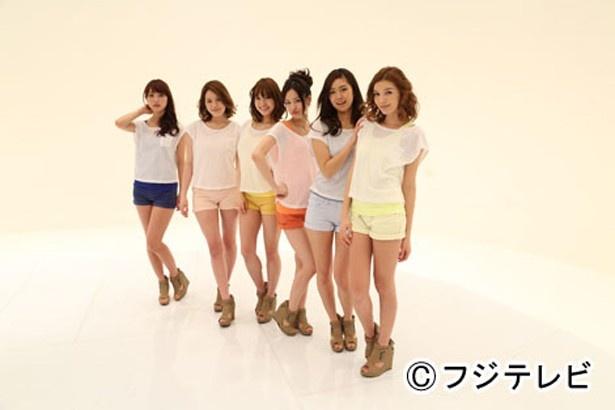 「すぽると!」に誕生した美女ユニット「すぽると☆ガールズ」の内田理央、筧美和子、水谷望愛、細川小百合、片貝樹、ケリー・アン(写真左から)