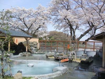 同園隣接「丘の湯」では、露天風呂からお花見ができる(入館料600円)