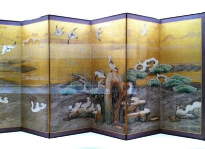 重要文化材「雪汀水禽図屏風(せっていすいきんずびょうぶ)」狩野山雪筆※写真は左部分