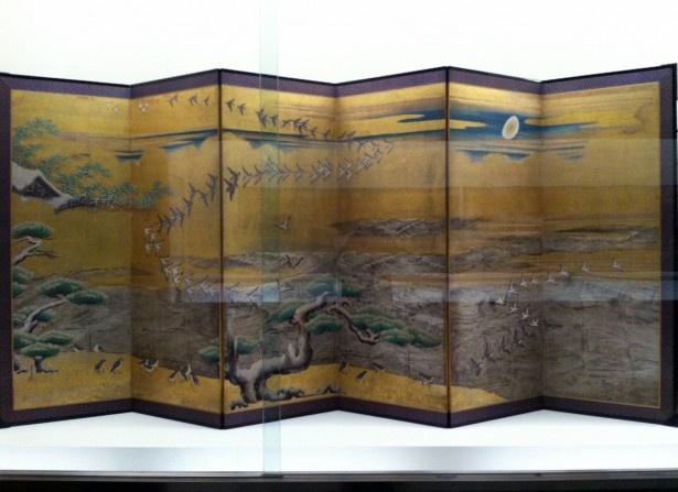 重要文化材「雪汀水禽図屏風(せっていすいきんずびょうぶ)」狩野山雪筆※写真は右部分