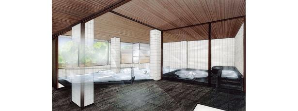 「しこつ湖鶴雅 リゾートスパ水の謌」の大浴場
