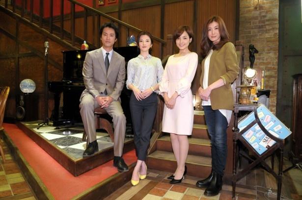 会見に登場した桐谷健太、田中麗奈、国仲涼子、ともさかりえ(写真左から)