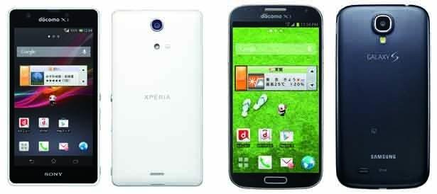 フラッグシップモデルXperia、GalaxyのスマートフォンもNOTTV対応に(写真左側・XperiaTM A SO-04E、写真右側・GALAXY S4 SC-04E)
