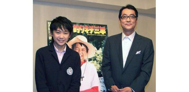 『釣りキチ三平』のPRで名古屋に訪れた滝田洋二郎監督と主演の須賀健太