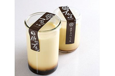 「マルキタプリン本舗」侍のプリン¥480。牛乳(写真左)、卵など北海道の厳選素材で作る濃厚なプリン