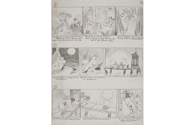 コミックスの原点も。1953年から、ムーミンはイギリスの新聞「イヴニング・ニューズ」に15年間連載された※写真はムーミン・コミックススケッチ (1950年代 鉛筆)