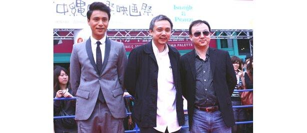『Paiented Skin』で来沖した3人。左が中国で人気のチェン・クン