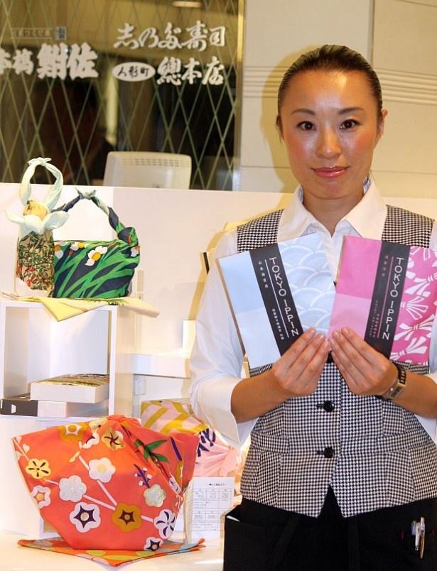 のれんてみやげゾーンにある東京イッピンでは、可愛い包装の佃煮やお洒落な風呂敷を販売