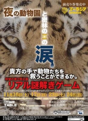 「夜の動物園と密林の王の涙 at よこはま動物園ズーラシア」ポスター
