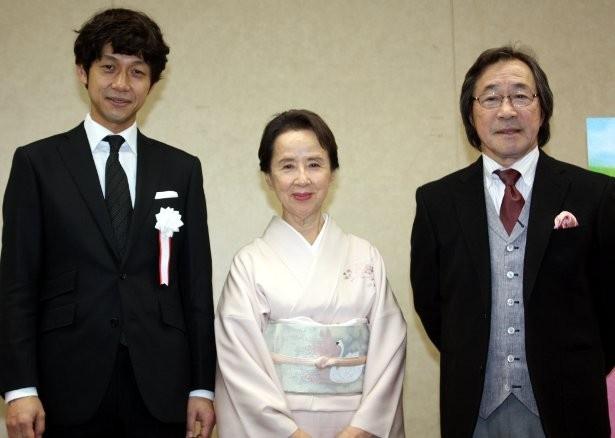 美智子皇后陛下行啓の試写会に参加した八千草薫、武田鉄矢、深川栄洋監督