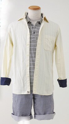 ドライストレッチパイルポロシャツ(1990円)、オックスフォードストライプシャツ(2990円)、ハーフパンツ(2990円)(UNIQLO by Gilded Age)