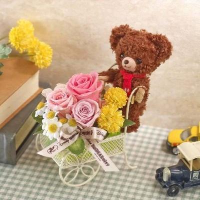 まるでモカが花屋さんになったみたい!「ユニベア フラワーカート(モカ)」 (5250円)