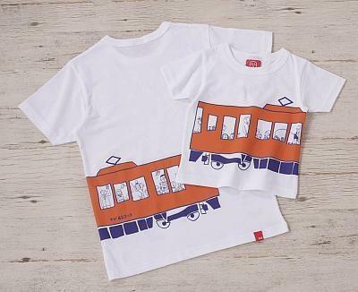 「LET'S TRAIN」Tシャツは、子供用から大人用までサイズ豊富(3360〜5040円)
