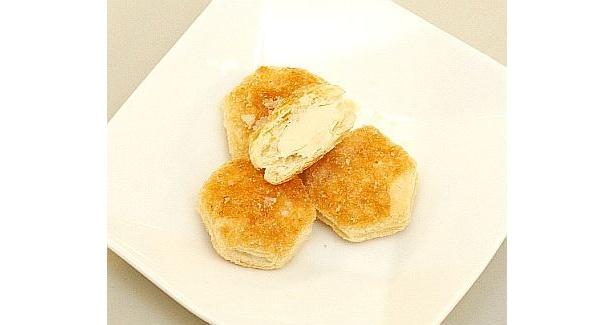 パイの中にはバニラアイス風味のホワイトチョコが!