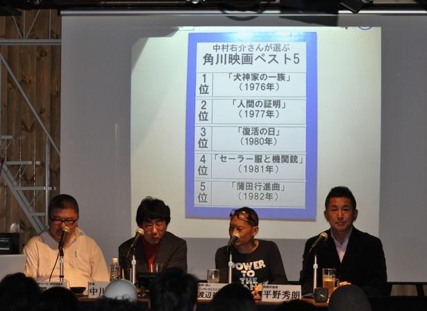 それぞれの「角川映画ベスト5」を紹介しながらトークがすすめられた
