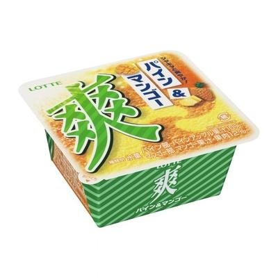 「爽 パイン&マンゴー」のパッケージには、食べるとシャキッと爽やかな気持ちになるイメージを表現。また、パインとマンゴーを使用していることがひと目で分かるようにデザイン
