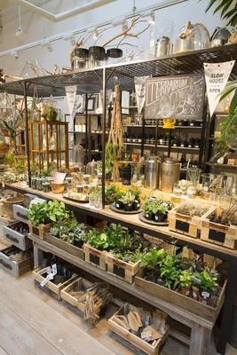 「SLOW HOUSE」で人気の「テラリウム バー」。お好みの ガラス容器と植物などを購入すれば、その場で植え替えを してくれる(植替代別途)