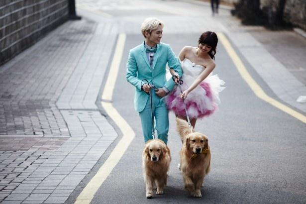 イヌを連れてラブラブ散歩
