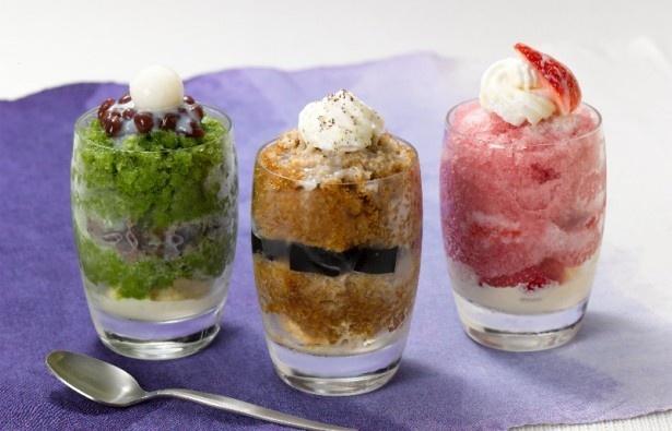 左から「抹茶のグラニータ」「コーヒーのグラニータ」「苺のグラニータ」