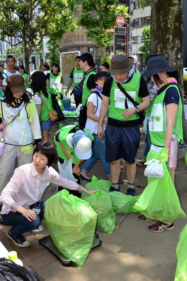 チームごとに集めたゴミの量を計測