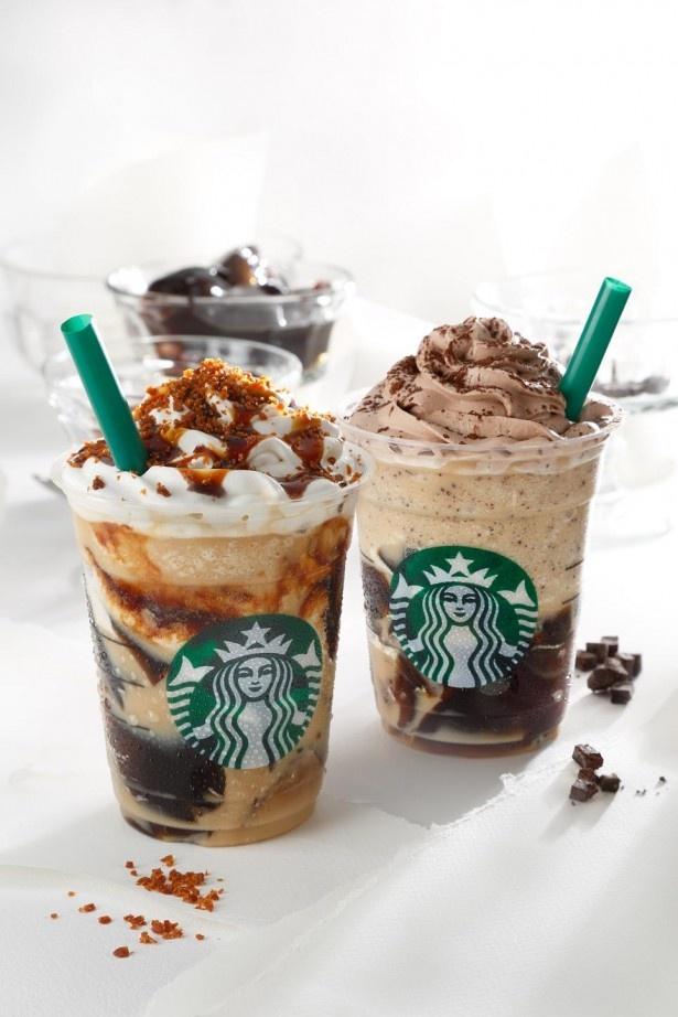 左から「マーブル キャラメル コーヒー ジェリー フラペチーノ」と「ダブル チョコレート コーヒー ジェリー フラペチーノ」