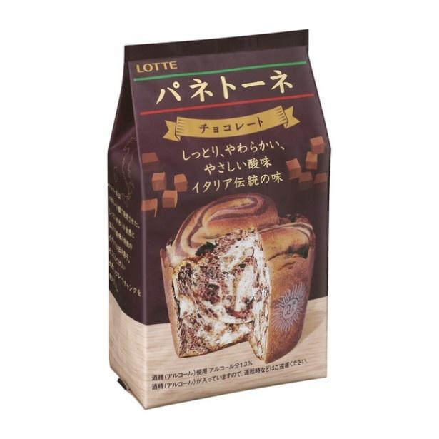 ロッテのパネトーネ(178円、チョコレート)。大粒チョコがゴロゴロ!コーヒーブレイクのお供に