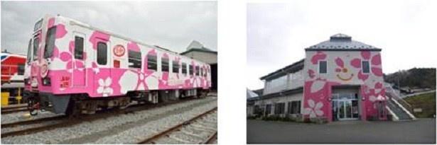 【写真を見る】2013年春の三陸鉄道南リアス線運行再開に伴い行われた「キット、ずっとプロジェクト2013」のラッピング企画。左から、サクラトレイン「キット、ずっと2号」、吉浜駅舎