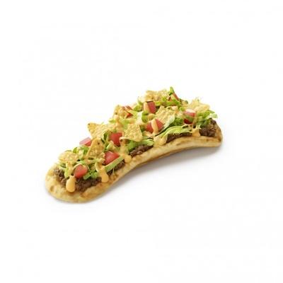 【写真を見る】肉とシャキシャキ野菜、サクサクのトルティーヤの組み合わせが絶妙な「モスのナン スパイスミートタコス」(370円)