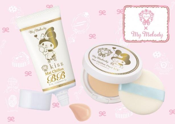 数量限定発売のスペシャルパッケージの(写真左から)「キス マットシフォン BBピュアクリーム 14M」と「キス マットシフォンパクト UV 14M」