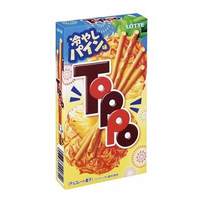パイナップルが真っ二つになっている様子を描いたパッケージの「トッポ<冷やしパイン味>」