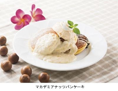 「マカデミアナッツパンケーキ」は、マカデミアの食感と風味、ココナッツミルクの濃厚なコクが楽しめるスイーツ